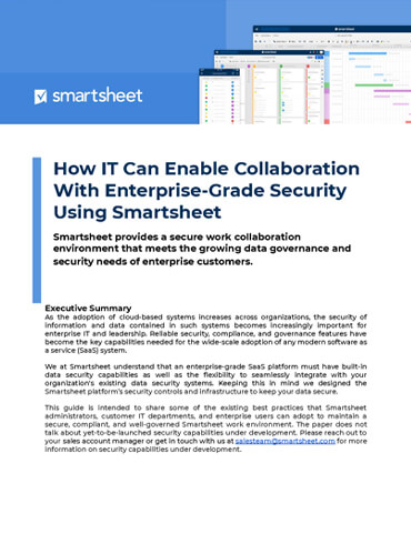 How IT Can Enable Collaboration With Enterprise-Grade Security Using Smartsheet
